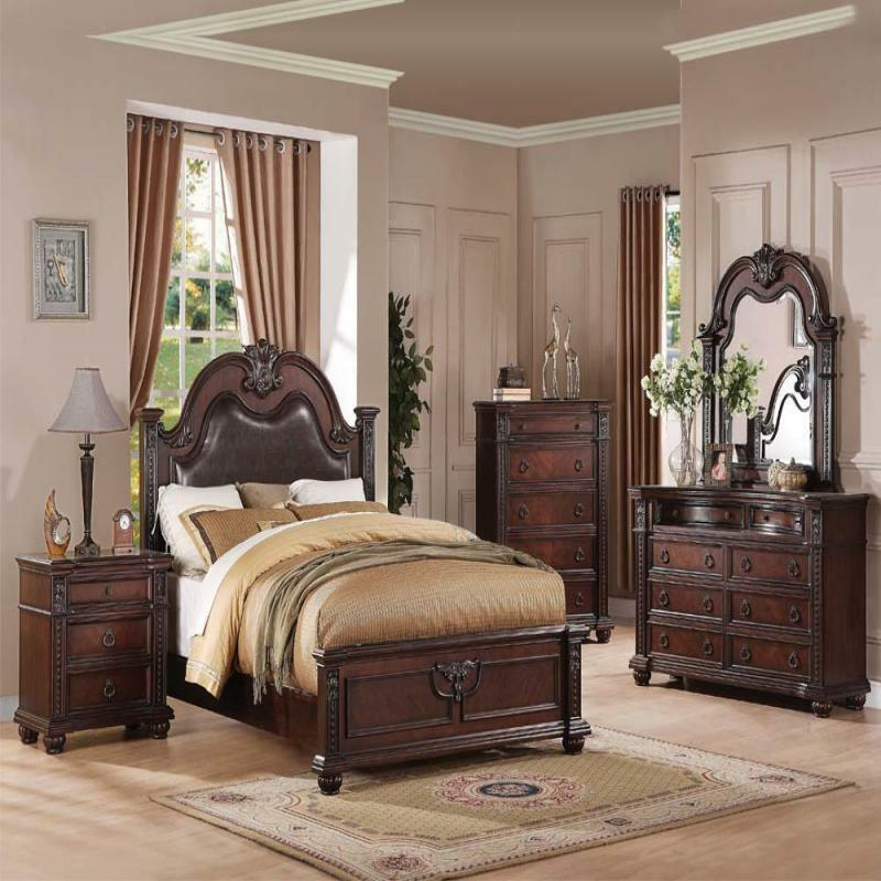Daruka cherry formal traditional antique queen bed 4pcs for Bed set queen furniture