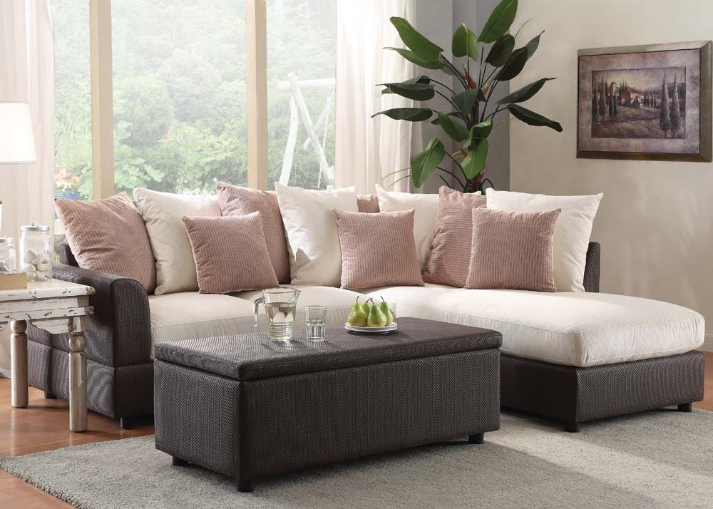 Modern sectional sofa set beige fabric plush sofa chaise for Beige sectional with chaise