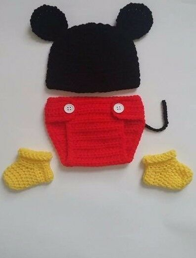 Free Crochet Pattern For Mickey Mouse Shoes : NEW Newborn Baby Mickey Mouse Hat Diaper Cover Booties ...