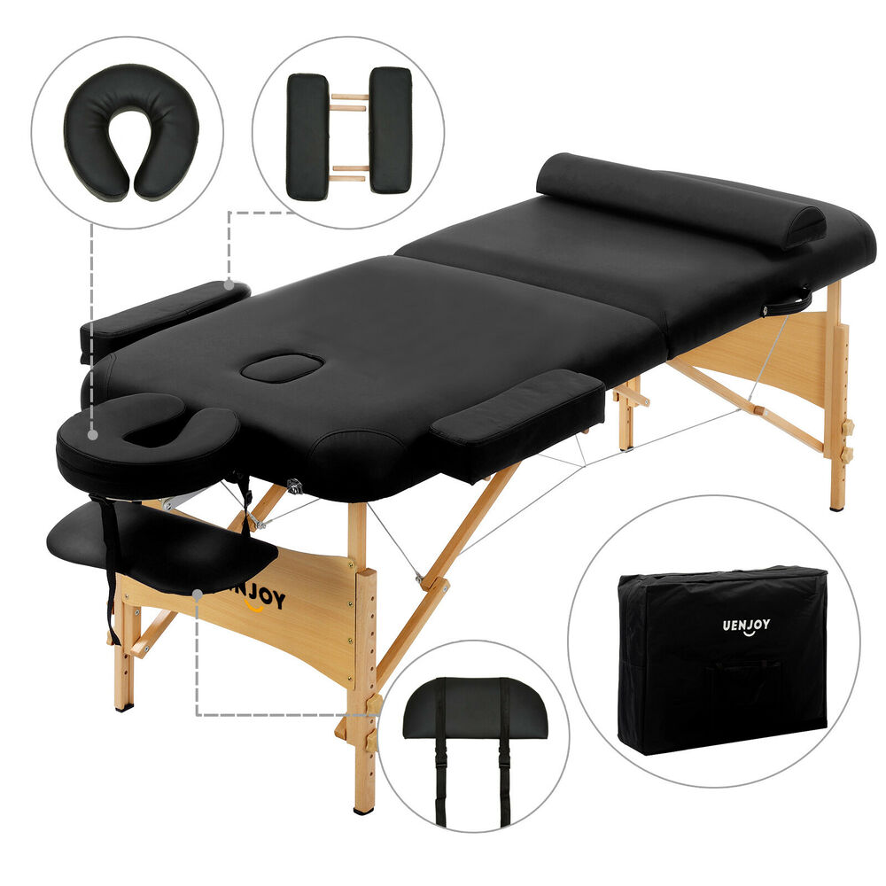 84 l fold portable black massage table facial spa bed for Free portable