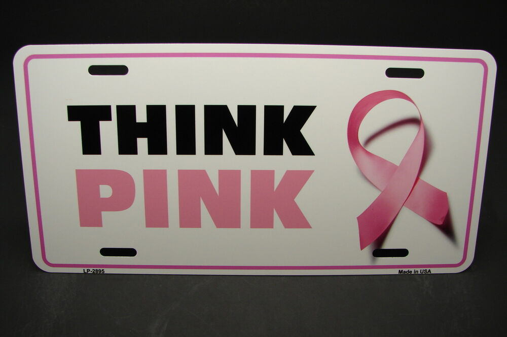 Pink Ribbon Metal Aluminum Car License Plate Tag Breast