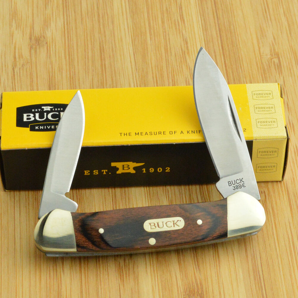Buck Knives Rich Wood Handle Canoe Folding Pocket Knife