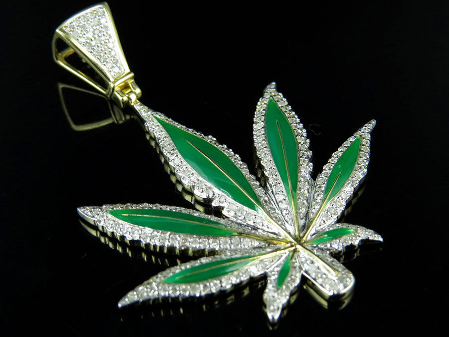 10k Yellow Gold Enamel Coated Large Marijuana Leaf Diamond
