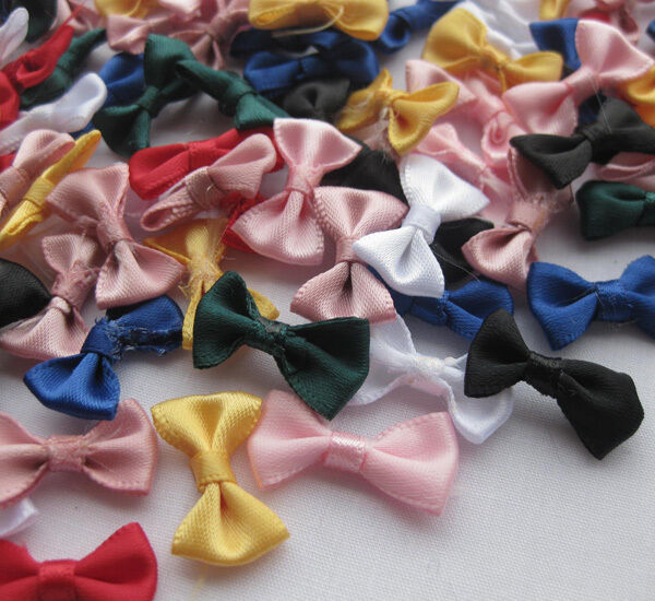 60pcs small satin ribbon bows flower appliques sew craft for Small flowers for crafts