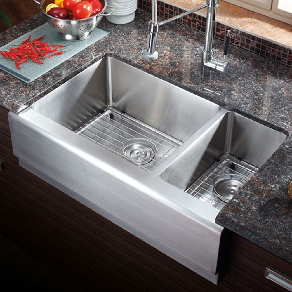 Az203 33 stainless steel double bowl farmhouse apron Stainless steel farmhouse sink