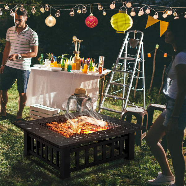 Outdoor Fire Pit BBQ Firepit Brazier Garden Square Table ...