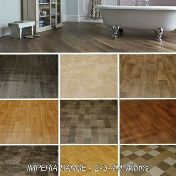 High quality vinyl flooring woods stone and tile designs lino kitchen new ebay - Vinyl deck tiles ...