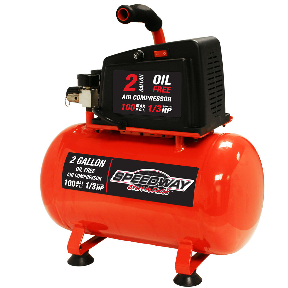 Speedway 2 Gallon Oil Free Air Compressor Hotdog Style