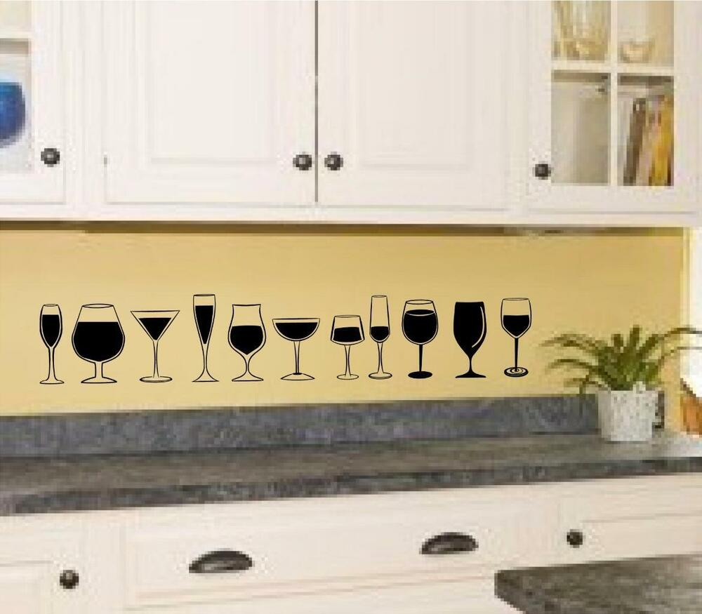 Wine Glasses Vinyl Decal Wall Sticker Kitchen Decor Art EBay