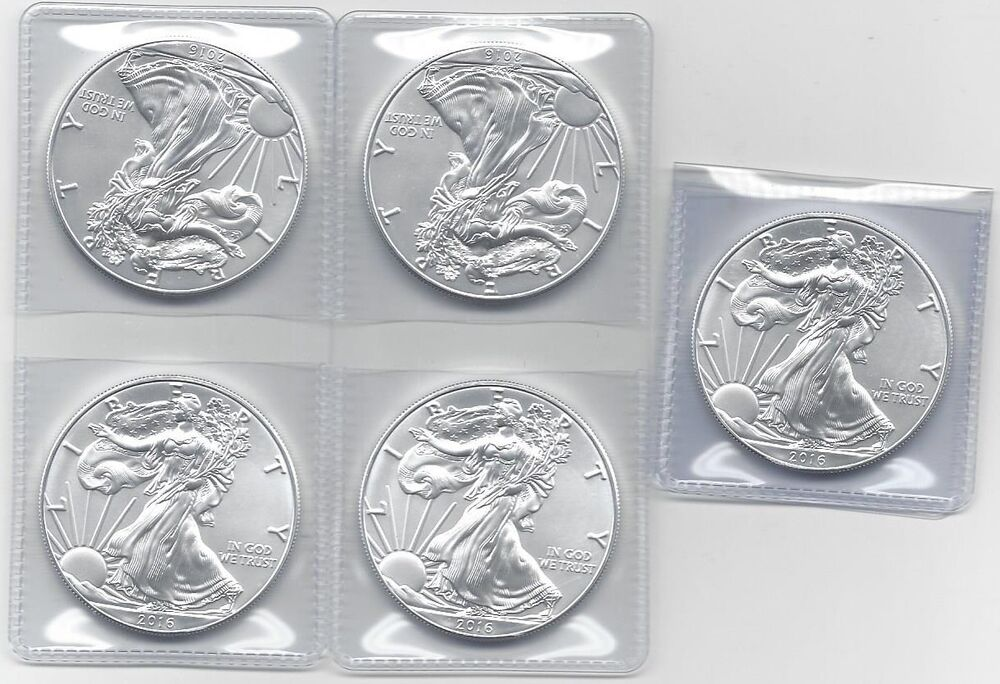 2016 1 Oz Silver American Eagle Coins Bu Lot Of 5 Five