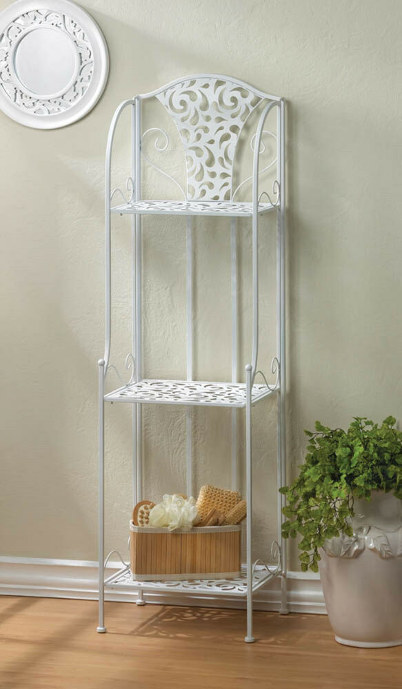 Shabby White Iron Scrollwork Metal Shelf Organizer Kitchen