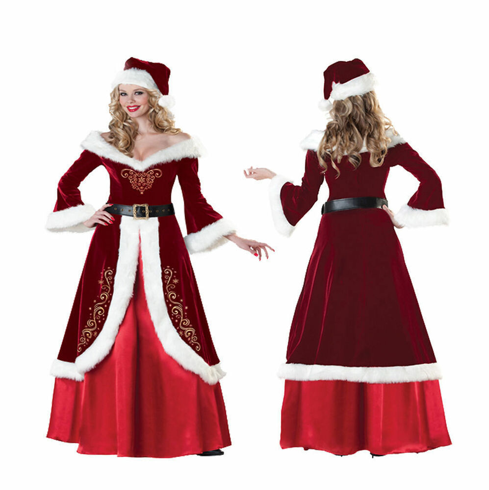 Mrs santa claus christmas queen costume dress up red adult