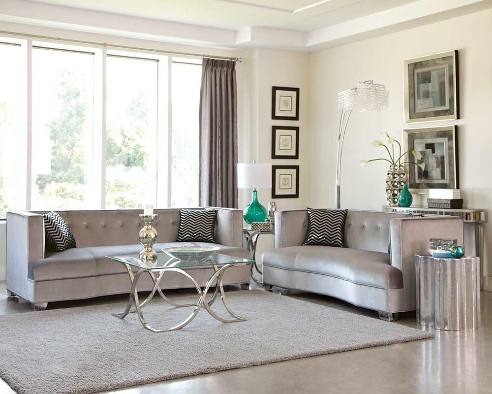 Sleek silver gray grey velvet sofa loveseat living room for Sleek living room