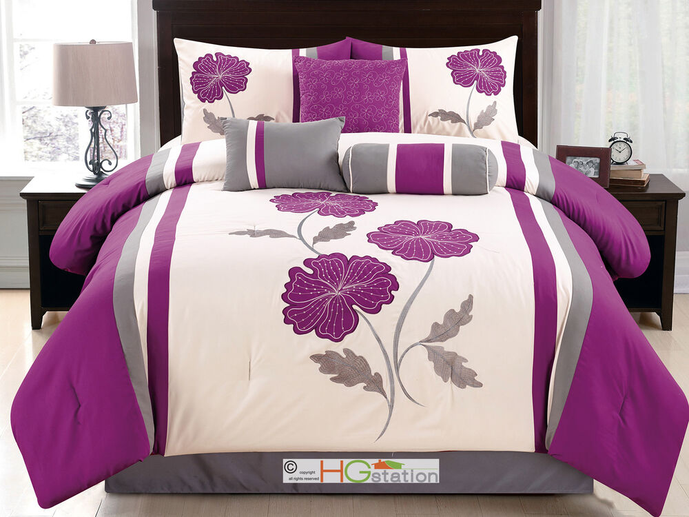 11 pc floral applique embroidery comforter curtain set for Bedding violet