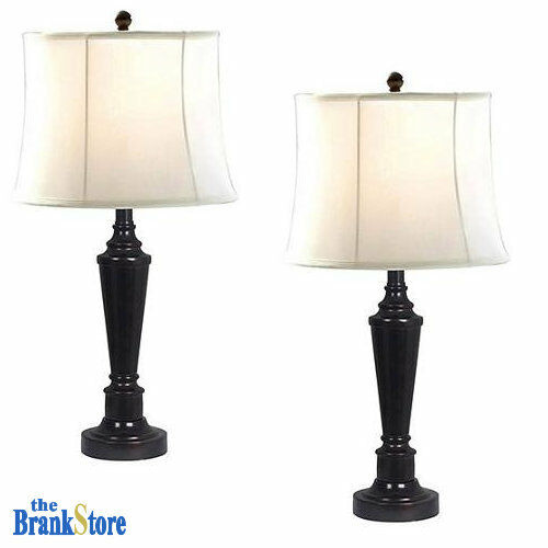 Table lamp set 2 traditional vintage desk lamps pair for Bedroom nightstand lamps
