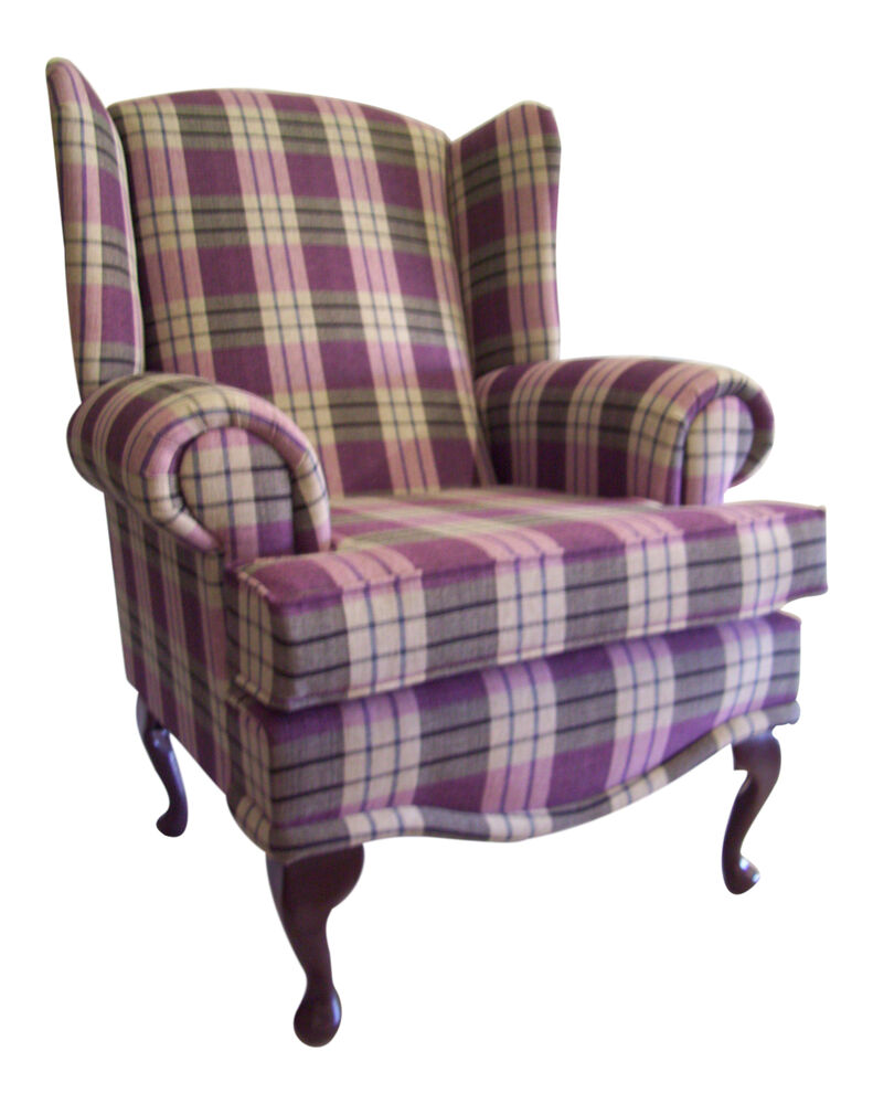 Cottage Wing Back Qa Chair In Kintyre Heather Tartan