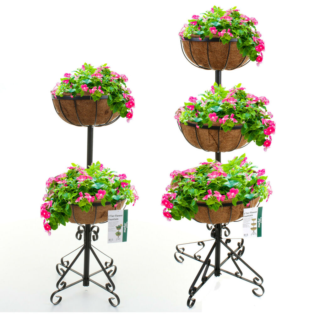 2 Or 3 Tier Flower Fountain With Coco Liners Black Metal