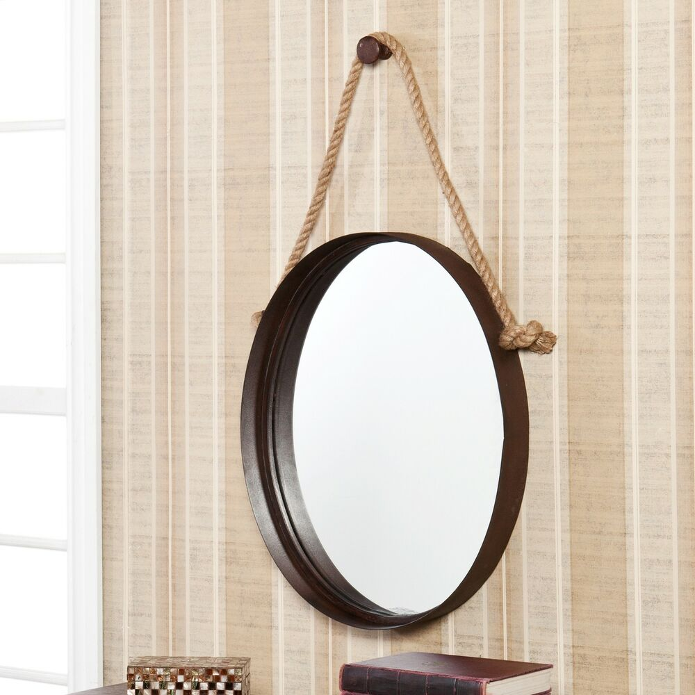 Decorative rope hanging oval round wall mirror nautical for Hanging mirror