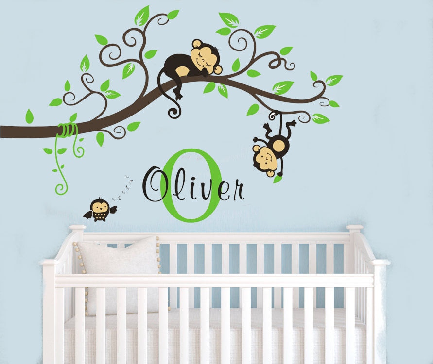 Wall Art Decals For Nursery : Wall stickers custom name monkey branch vinyl decal decor