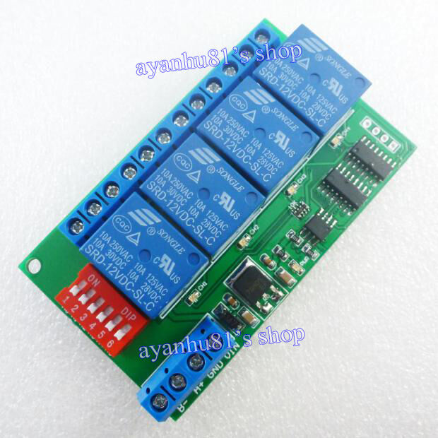 dc 12v 4 channel rs485 delay timer switch relay module modbus at dc 12v 4 channel rs485 delay timer switch relay module modbus at remote control