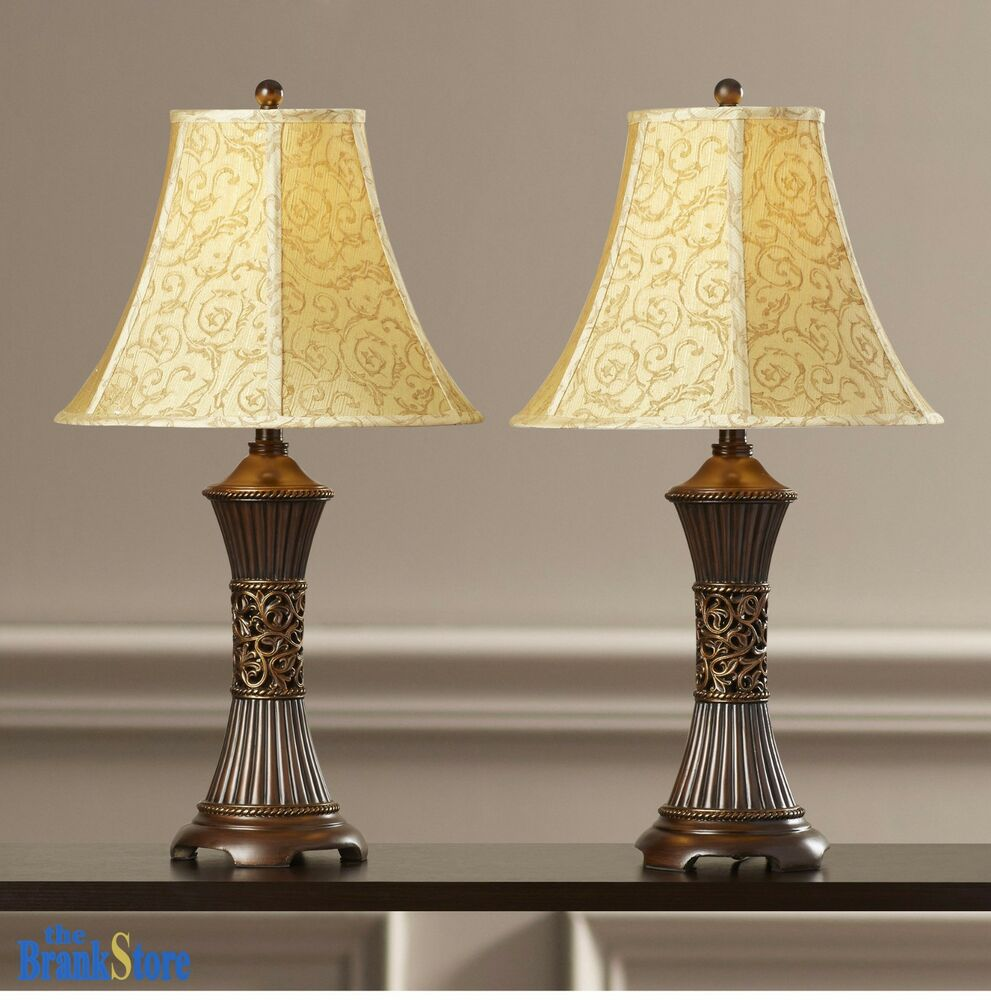 Table lamp set 2 vintage traditional lamps pair shade for Bedroom nightstand lamps