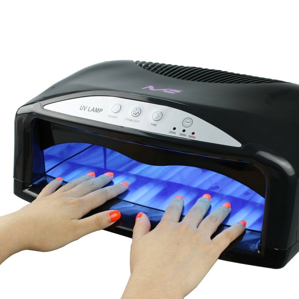 professional uv nail dryer machine 2 hand 54 watt light lamp gel fan timer salon ebay. Black Bedroom Furniture Sets. Home Design Ideas