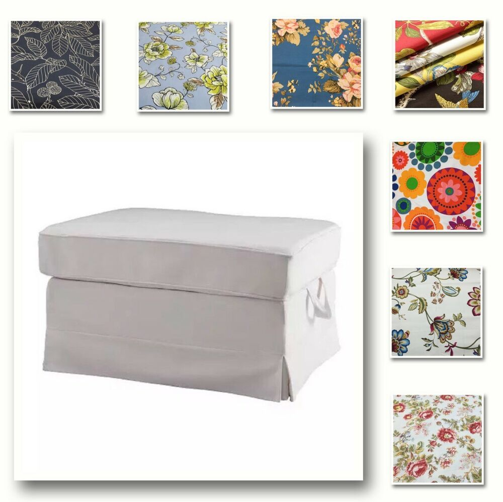 Details About Custom Made Cover Fits Ikea Rp Footstool Ottoman Patterned Fabric