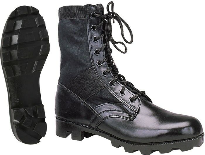 Black Leather Military Jungle Boots  5cdf438b1c5