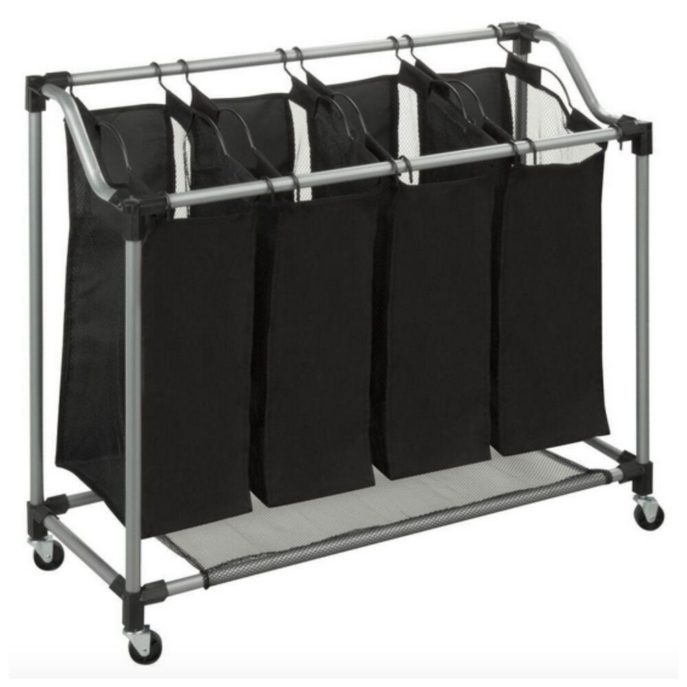 Quad 4 Bag Basket Laundry Sorter Hamper Bin Storage ...
