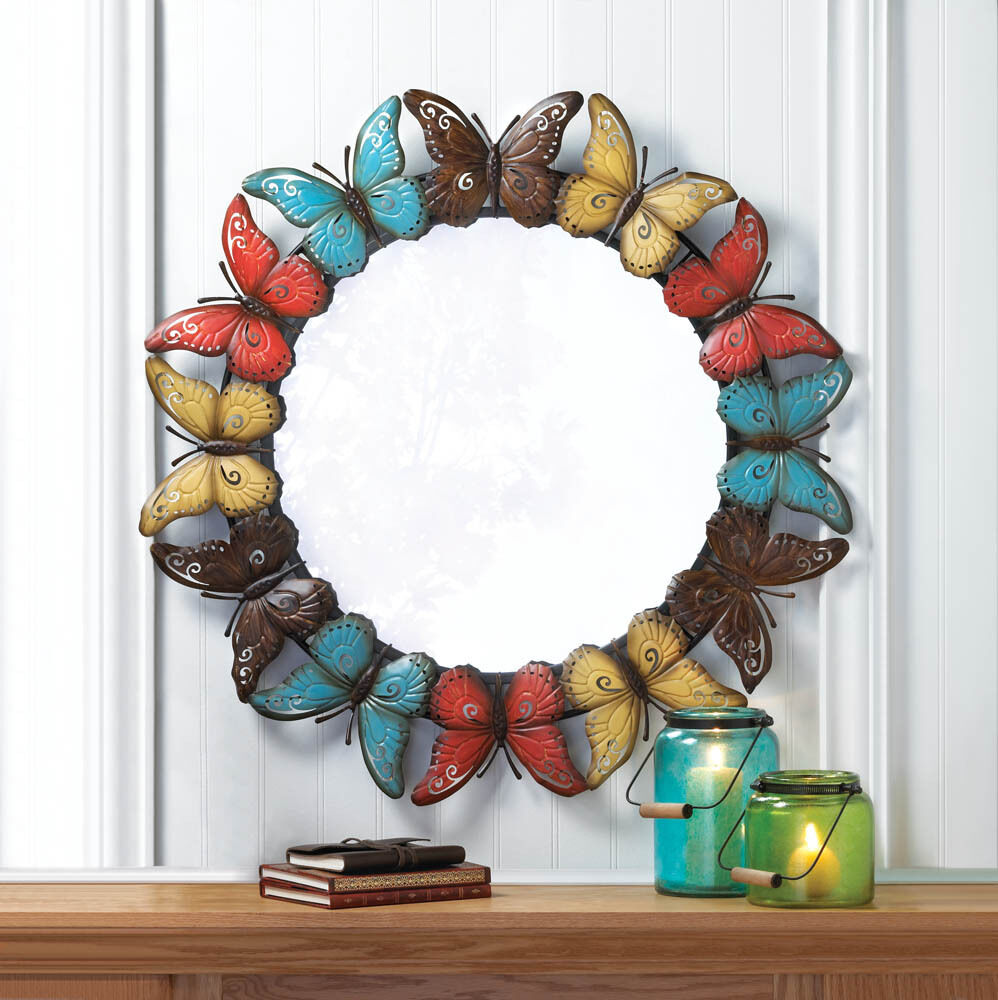 Large 36 round colorful shabby metal butterfly modern for Mirror wall art