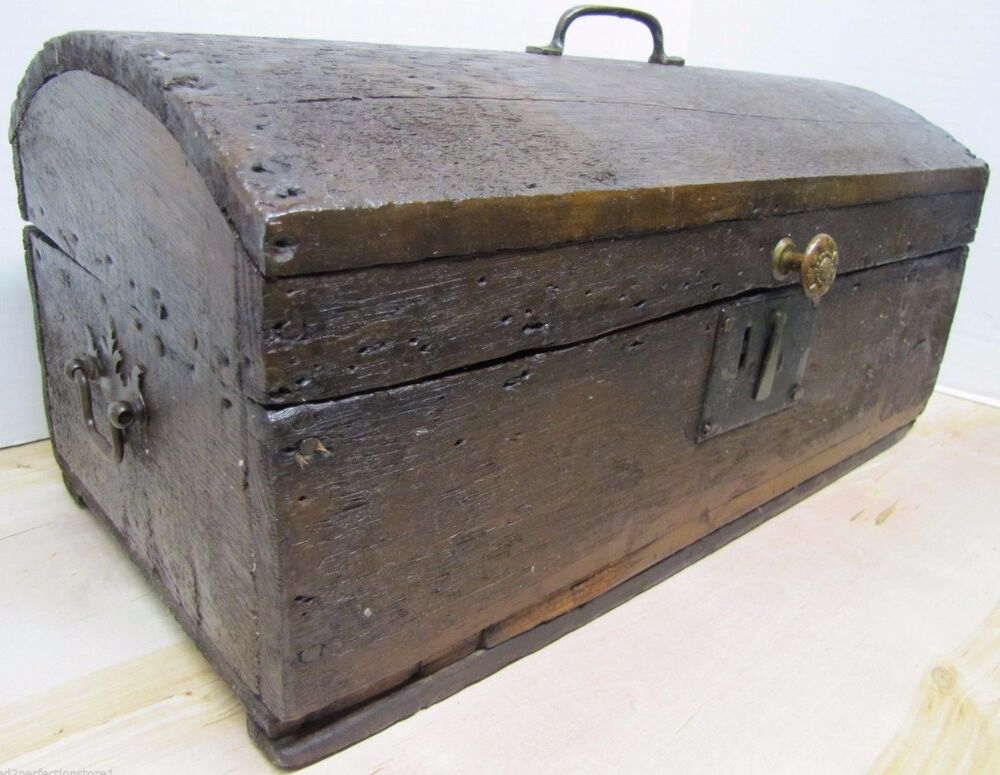 Antique small dome top trunk treasure chest wooden