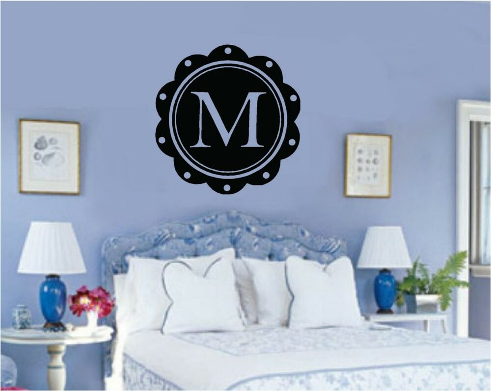 custom monogram letter vinyl decal wall sticker teen kids. Black Bedroom Furniture Sets. Home Design Ideas