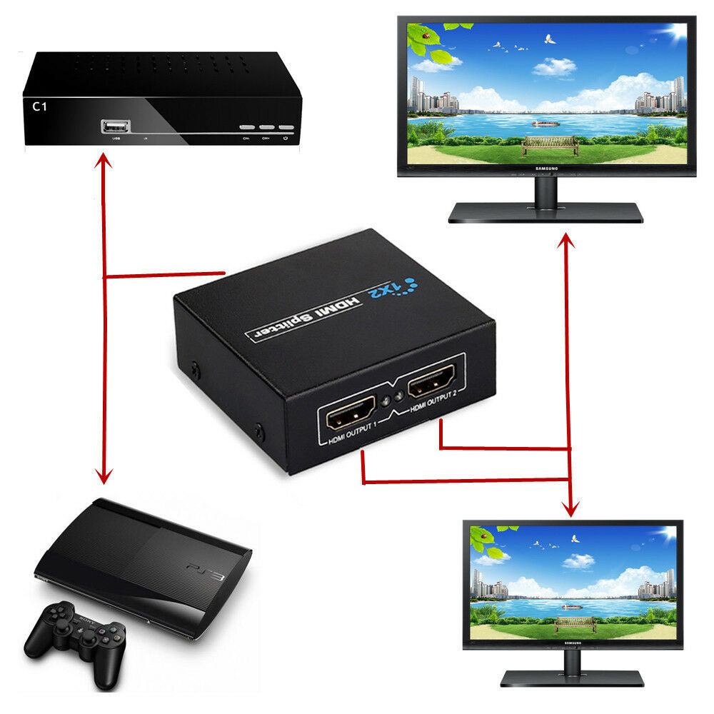 1080p Hdmi To 2 Female Splitter Amplified Switcher For