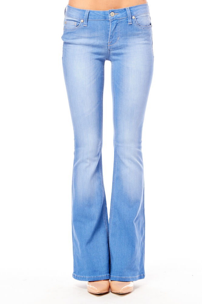 Womens Low Rise Flare Jeans