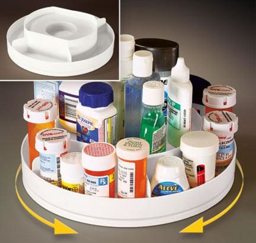 Rotating 2 tier lazy susan medicine pill cabinet organizer makeup spice rack ebay - Spice rack for lazy susan cabinet ...