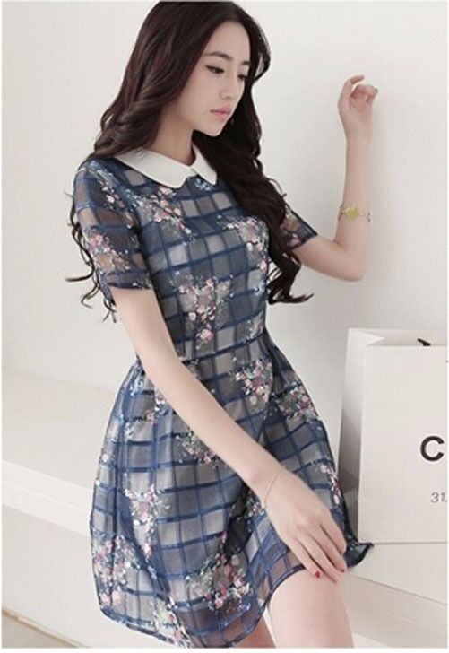 New Fashion Women Clothes Korean Style Short Sleeve Plaid & Checks ...