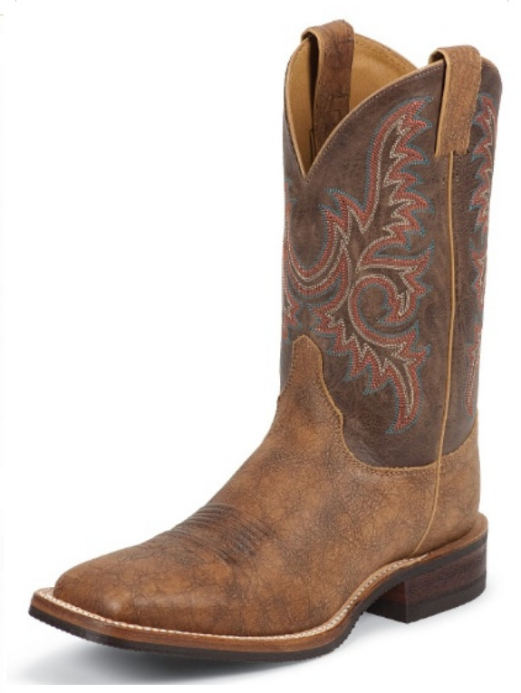 Justin Old Map Bent Rail Cowboy Boots Square Toe Western