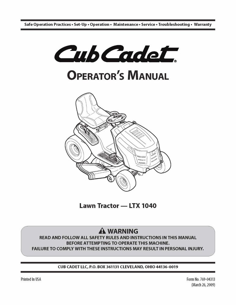cub cadet operator s manual model no ltx 1040 ebay rh ebay com Cub Cadet LTX 1040 Drive Belt cub cadet model ltx 1040 owners manual