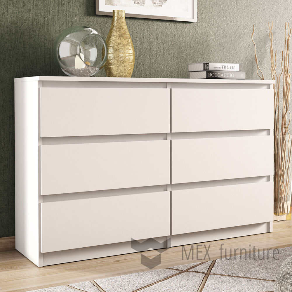Modern white chest of drawers 6 drawers bedroom furniture cabinet sideboard ebay for White bedroom chest of drawers