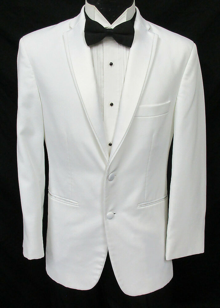 New Ivory Microfiber Dinner Jacket. One Button, Single Breasted, Shawl lapel coat made of exceptional polyester/ rayon manmade fiber that looks and feels like Super s Wool.