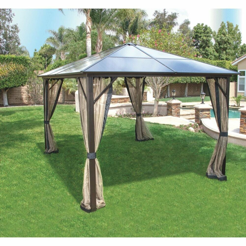 Pacific Casual Black Hardtop 12 X 10 Foot Gazebo With