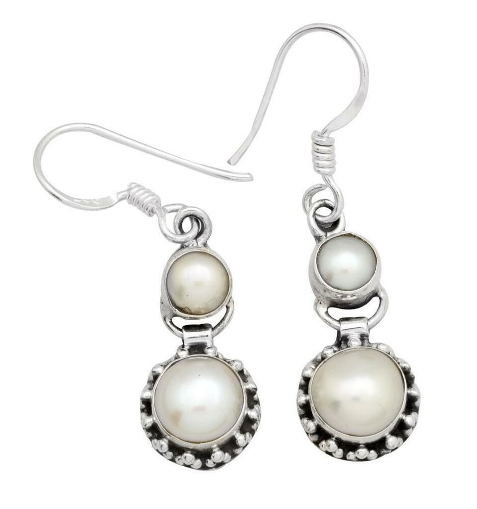 pearl gemstone earrings solid 925 sterling silver jewelry