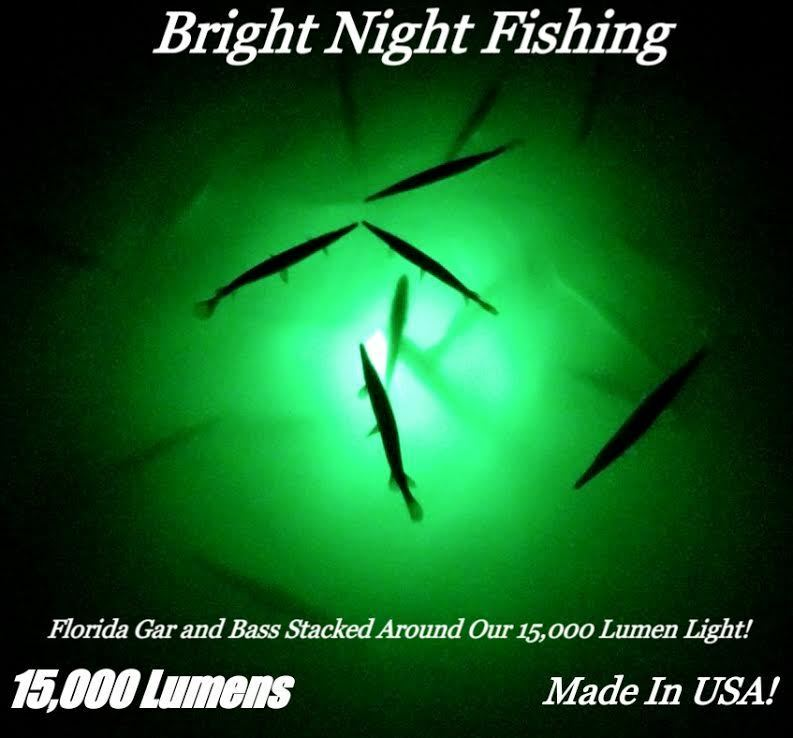 Underwater fishing light 15 000 lumens green crappie for Best light for night fishing