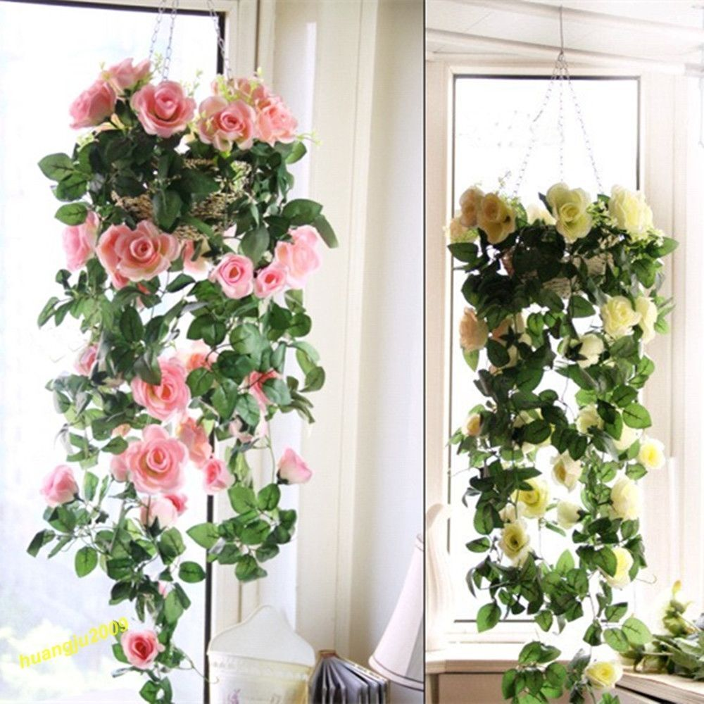 Artificial Flowers Home Decor: Artificial Fake Silk Rose Flower Ivy Vine Hanging Garland