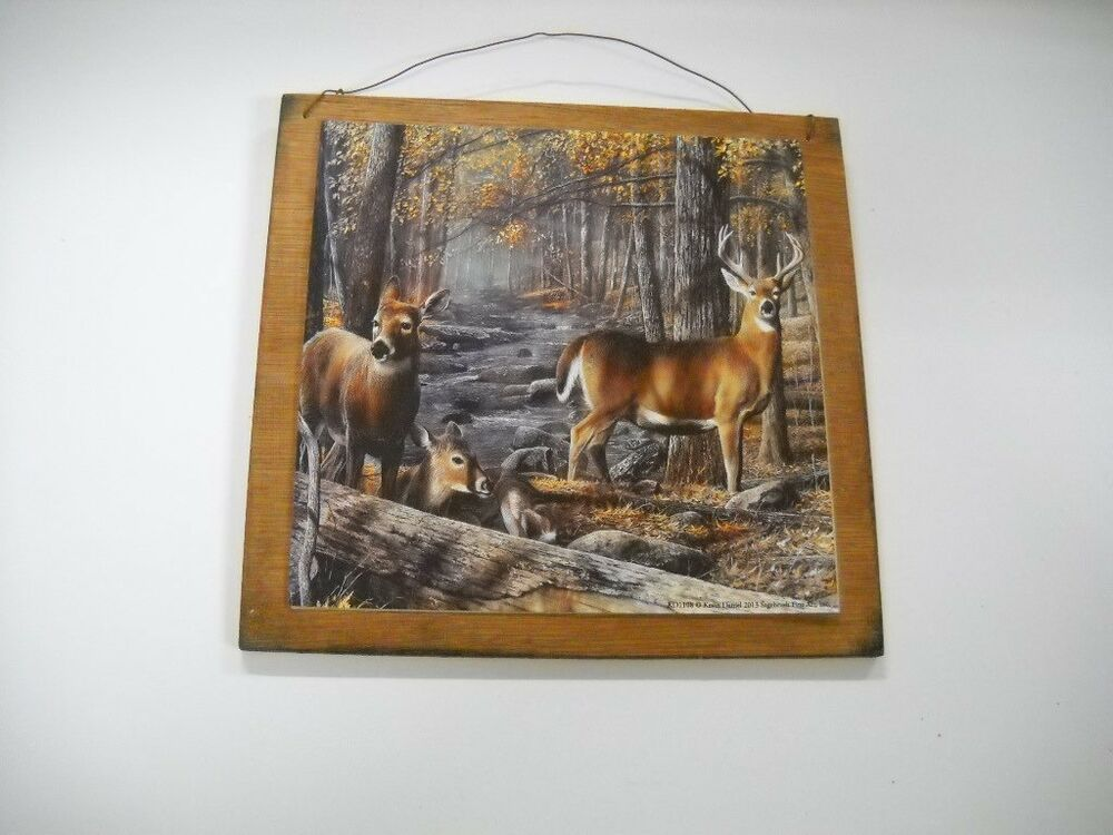fawns hunting wooden wall art sign lodge cabin decor camper ebay