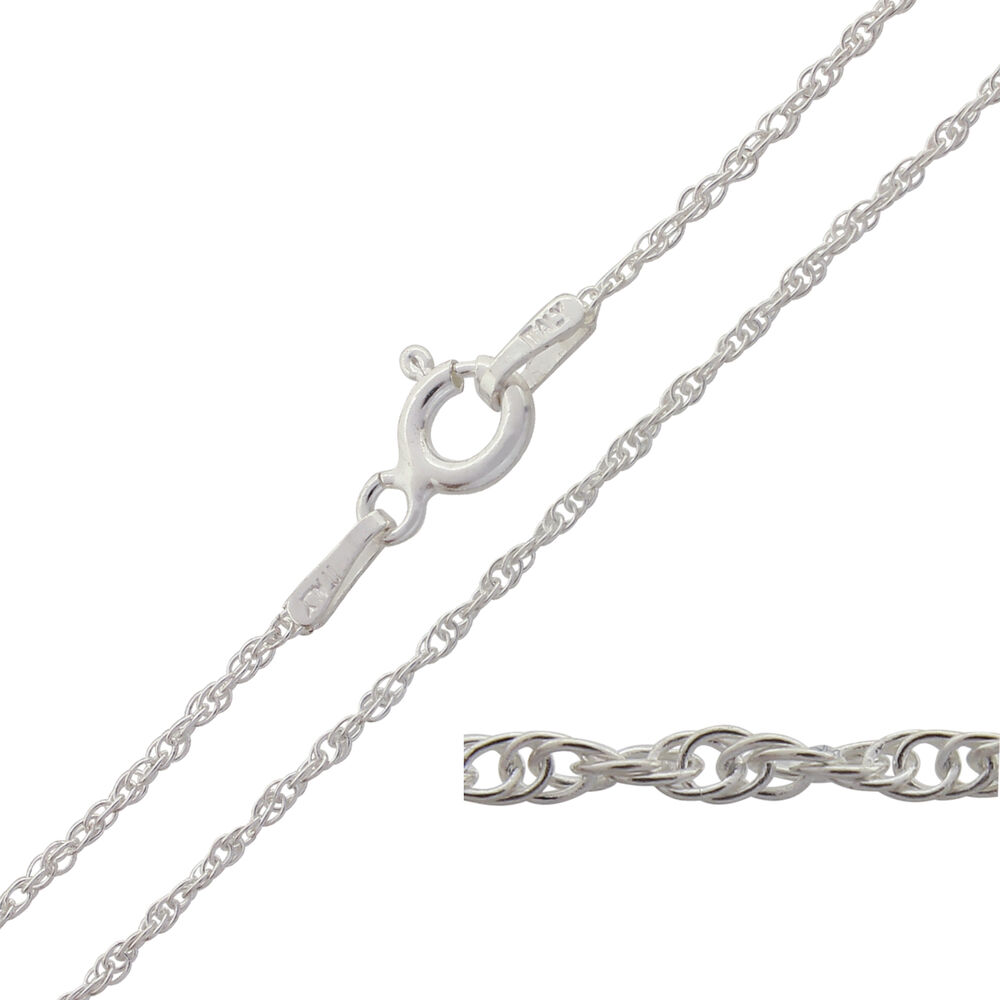 925 Sterling Silver Prince Of Wales Rope Chain Necklace 16