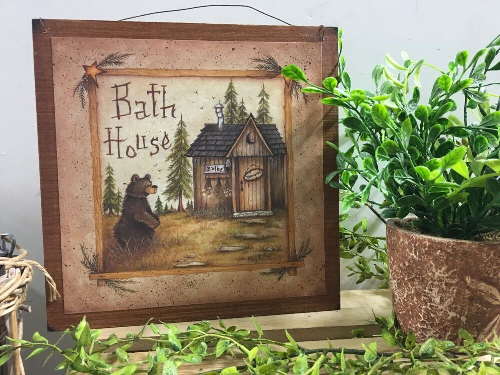 Bear bath house wooden bathroom wall art sign cabin lodge for Wood bathroom wall decor