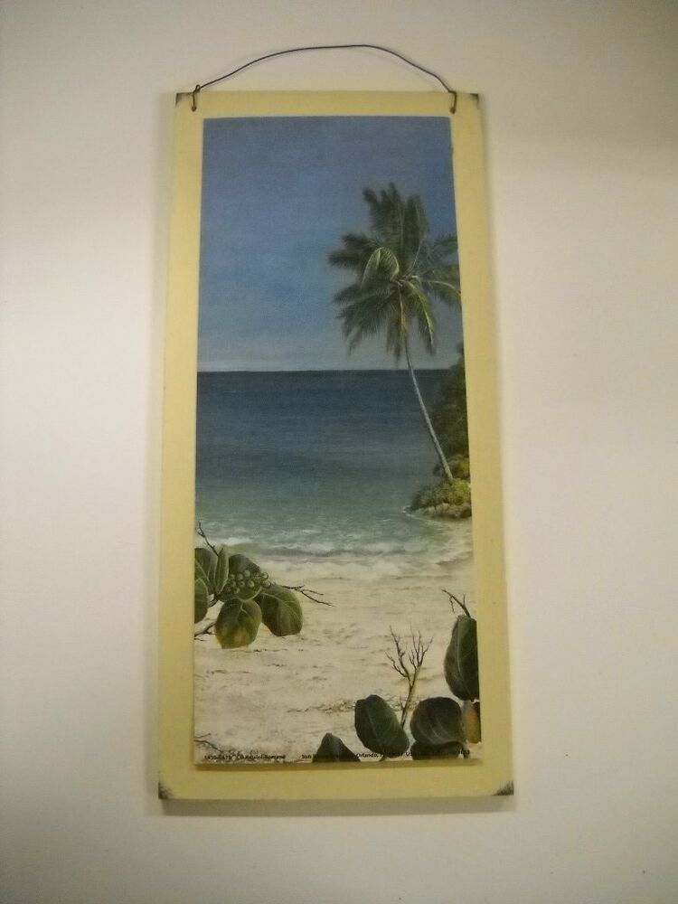 Palm Tree Tropical Wooden Wall Art Sign Wood Beach Decor