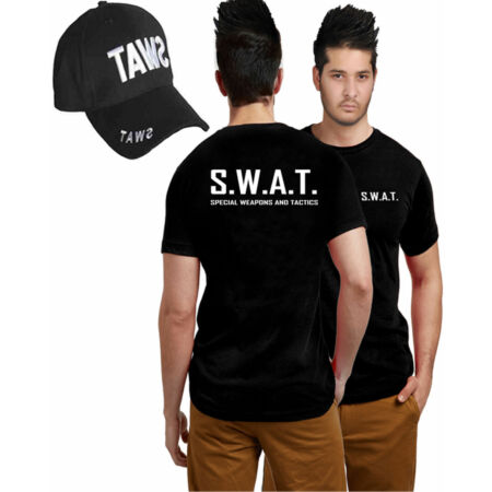 img-New Mens Boys Special Weapons & Tactics Police Military T Shirt SWAT Printed Cap