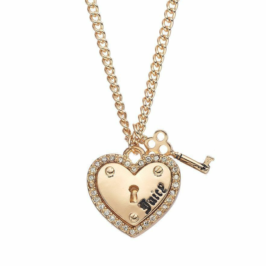 JUICY COUTURE gold tone Heart & Key Charm Necklace Crystal ...